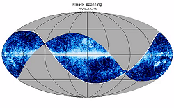 Couverture du ciel par Planck - projection Mollweide - © C. North/Cardiff University & NASA/WMAP science team (image fond)