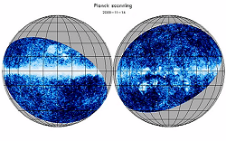 Couverture du ciel par Planck - projection Orthographique - © C. North/Cardiff University & NASA/WMAP science team (image fond)