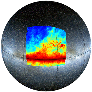 In the Planck image, the dark horizontal band is the plane of our Galaxy